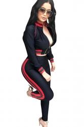 Womens Sexy Zipper Crop Top&Striped Leggings Sports Suit Black