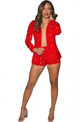 Womens Trendy V-Neck Long Sleeve Top&Short Pants Studded Suit Red