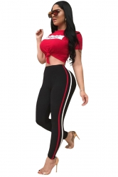 Womens Crew Neck Short Sleeve Top&High Waist Long Pants Sport Suit Red