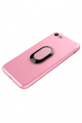 Pink Frosted Rotating Ring Kickstand Magnetic Case Cover for iPhone