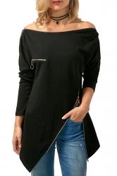 Womens Long Sleeve Zipper Slit Asymmetrical Hem Plain T-Shirt Black