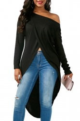 Womens Sexy One Shoulder Asymmetrical Hem Long Sleeve T-Shirt Black