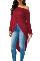 Womens Sexy One Shoulder Asymmetrical Hem Long Sleeve T-Shirt Ruby