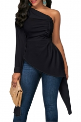 Womens Sexy Ruffle Asymmetric Hem Plain One Shoulder Top Black