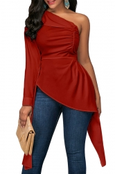 Womens Sexy Ruffle Asymmetric Hem Plain One Shoulder Top Red
