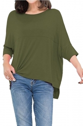 Womens Loose Crew Neck Batwing Sleeve High Low T-Shirt Army Green
