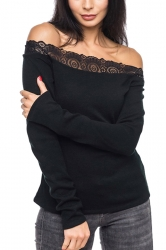 Womens Sexy Lace Patchwork Off Shoulder Long Sleeve T-Shirt Black