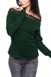 Womens Sexy Lace Patchwork Off Shoulder Long Sleeve T-Shirt Green