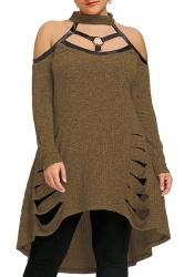 Womens Sexy Halter Cold Shoulder Cut Out Dip Hem Sweater Dress Brown