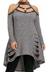 Womens Sexy Halter Long Sleeve Oversize Dip Hem Sweater Dress Gray
