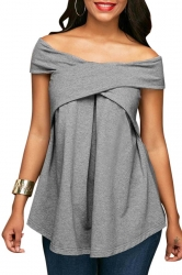 Womens Sexy Off Shoulder Bandage Ruffle Short Sleeve Plain Blouse Gray