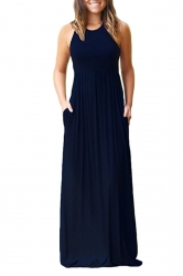 Womens Crew Neck Halter Sleeveless Plus Size Pocket Dress Navy Blue