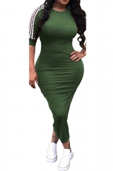 Womens Casual Half Sleeve Crew Neck Midi Bodycon Dress Army Green