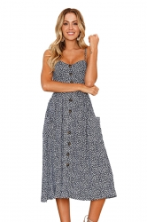 Sexy Backless Pocket Polka Dot Printed Spaghetti Strap Dress Blue
