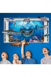 Waterproof Kids Bedroom Living Room Decor Ocean Shark Wall Decal Blue