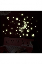 Shiny Kids Bedrooms Decor Moon Stars Sticker Wall Decal White