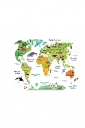 Cute Waterproof Removable Kids Educational Animal World Map Wall Decal