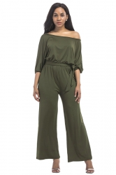 Womens Sexy Off Shoulder Wide Legs Plus Size Plain Jumpsuit Army Green