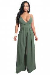 Womens Wide Leg V Neck Backless Spaghetti Strap Jumpsuit Army Green