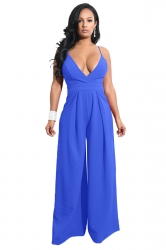 Womens Sexy Wide Leg V Neck Backless Spaghetti Strap Jumpsuit Blue