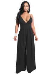 Womens Sexy Wide Leg V Neck Backless Spaghetti Strap Jumpsuit Black