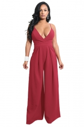 Womens Sexy Wide Leg V Neck Backless Spaghetti Strap Jumpsuit Ruby