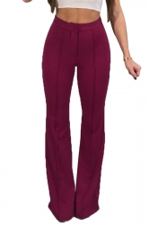 Womens Elegant High Waist Bell Bottoms Plain Leisure Pants Ruby