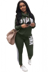 Womens Cowl Neck Sweatshirt Letter Printed Sports Suit Army Green