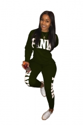 Womens Casual Crew Neck Long Sleeve Sweatshirt Sports Suit Army Green