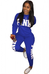 Womens Casual Long Sleeve Sweatshirt Letter Printed Sports Suit Blue