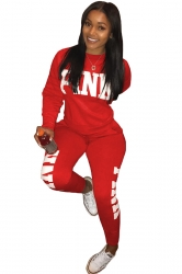 Womens Crew Neck Long Sleeve Sweatshirt Letter Printed Sports Suit Red