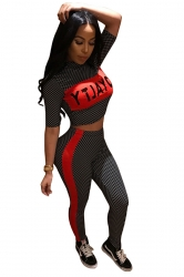Womens Sexy Half Sleeve Crop Top&High Waisted Pants Plaid Suit Black