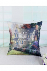 Homey Victorian Garden Printed Throw Pillow Cover 18x18in