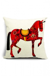 Vintage Royal Retro Horse Printed Throw Pillow Cover Red 18x18in