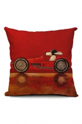 Cute Cartoon Dog Driving Car Printed Throw Pillow Cover Brown 18x18in