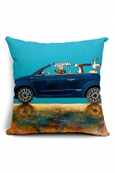 Lovely Cartoon Dog Driving Car Printed Throw Pillow Cover Blue 18x18in