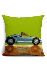 Cozy Cartoon Dog Driving Car Printed Throw Pillow Cover Green 18x18in