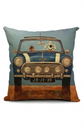 Vintage Cartoon Dog Driving Car Printed Throw Pillow Cover 18x18in