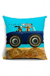 Homey Cartoon Dog Driving Car Printed Throw Pillow Cover 18x18in