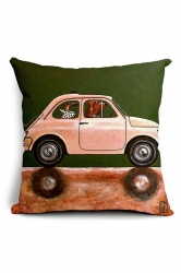 Lovely Cartoon Dog Driving Car Printed Throw Pillow Cover Pink 18x18in