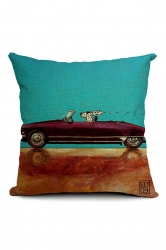 Stylish Cartoon Dog Driving Car Printed Throw Pillow Cover 18x18in