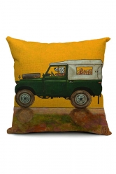 Cartoon Dog Driving Car Printed Throw Pillow Cover Orange 18x18in