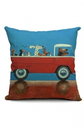 Trendy Cartoon Dog Driving Car Printed Throw Pillow Cover 18x18in