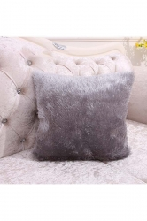 Homey Fluffy Plain Faux Fur Throw Pillow Cover Silver 16x16in