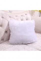 Homey Fluffy Plain Faux Fur Throw Pillow Cover White 16x16in
