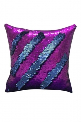 Homey Sequin Glitter Striped Mermaid Pillow Cover Purple 16x16in