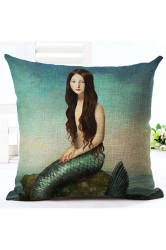 Modern Oil Painting Style Mermaid Pillow Cover Blue 18x18in
