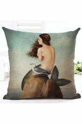 Modern Oil Painting Style Mermaid Pillow Cover Brown 18x18in
