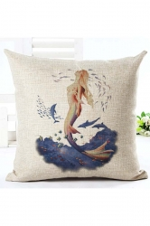 Modern Oil Painting Style Mermaid Pillow Cover White 18x18in