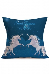 Trendy Dreamy Galaxy Unicorn Printed Throw Pillow Cover Blue 18x18in